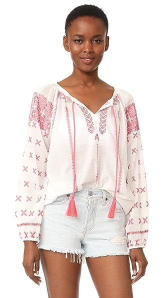 Roberta Roller Rabbit Jacinda Embroidered Top - White/Pink