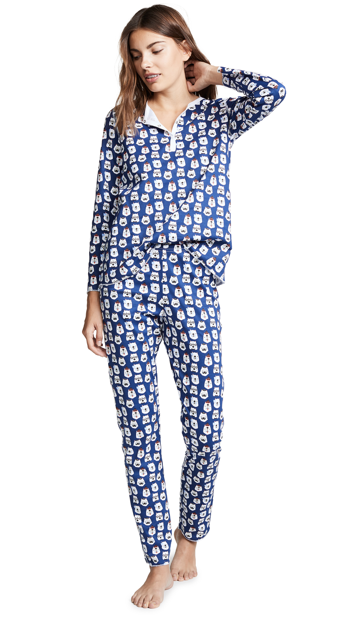 ROLLER RABBIT Bearry Holidays Pajamas in Blue