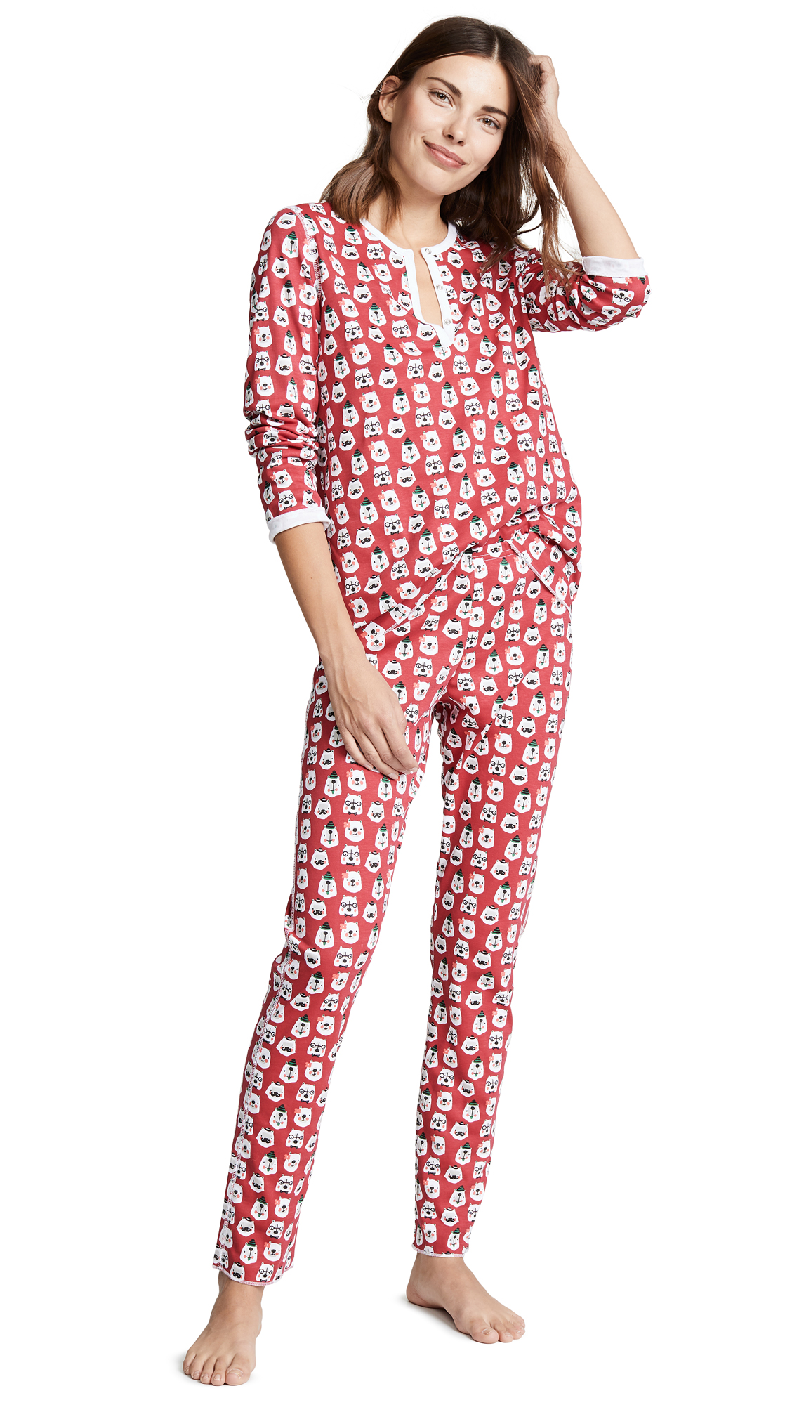 ROLLER RABBIT Bearry Holidays Pajamas in Red