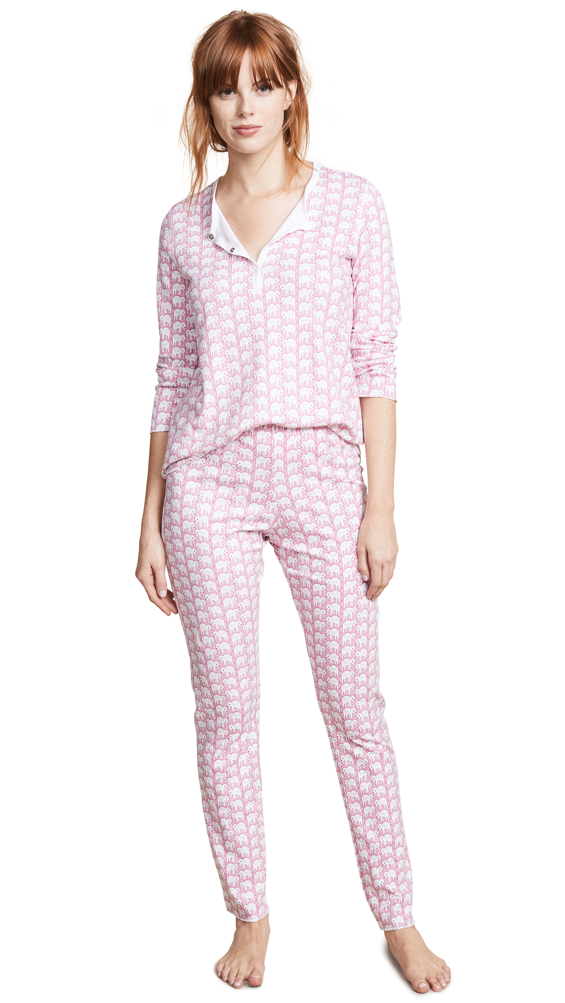 Roller Rabbit Hathi PJ Set In Pink