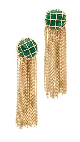 Rosantica Cage Fringe Earrings - Gold/Green