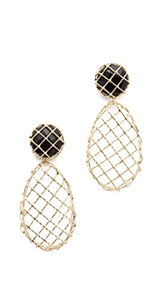 Rosantica Caged Teardrop Earrings - Gold/Black