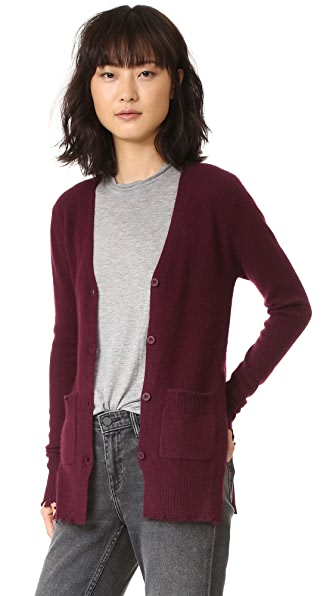 RtA Andre Destroyed Cashmere Cardigan - Wine