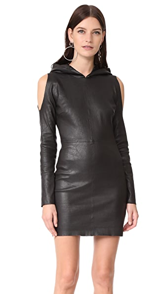 RtA Grace Hooded Dress In Noir