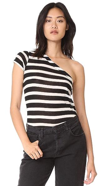 RtA Anais One Shoulder Tee - Black White