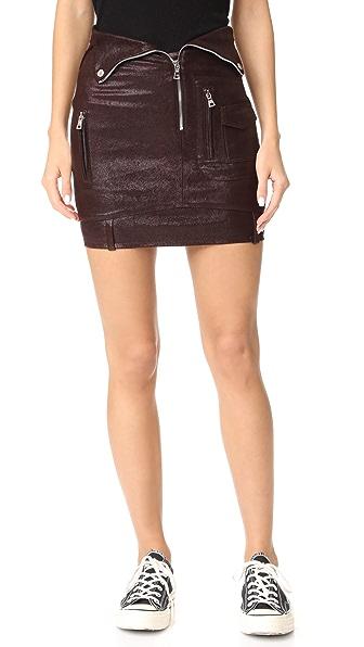 RtA Gisele Leather Skirt In Bordeaux