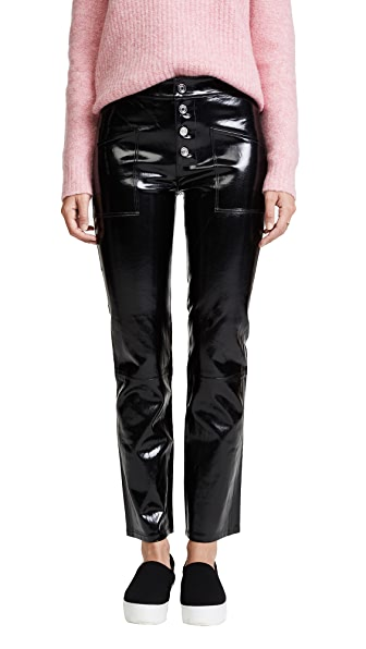RtA Theadora Patent Leather Pants In Shiny Noir