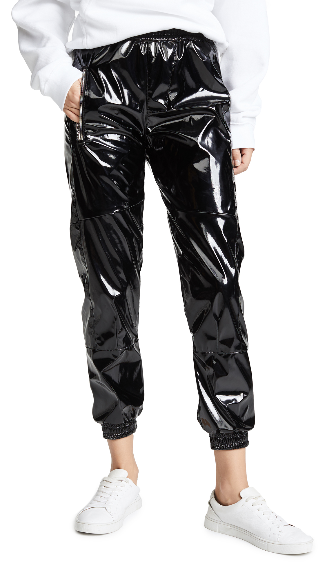 Finn Patent Ankle Track Pants in Black