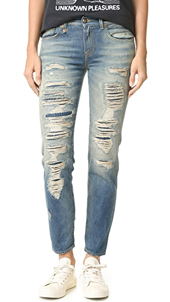 R13 Shredded Boyfriend Jeans