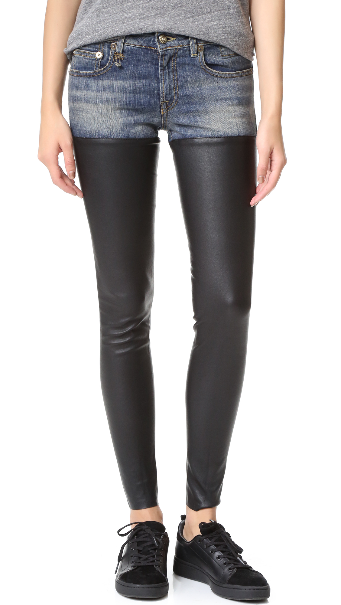 R13 Leather Chap Jeans Shopbop Save Up To 25 Use Code More18 Inside Flats Jessie Navy