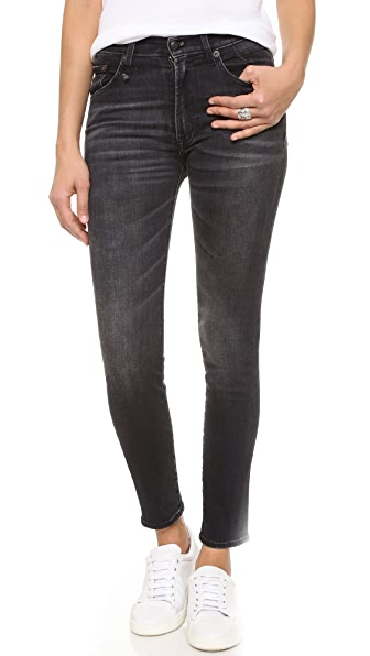 R13 High Rise Skinny Jeans In Dirty Black