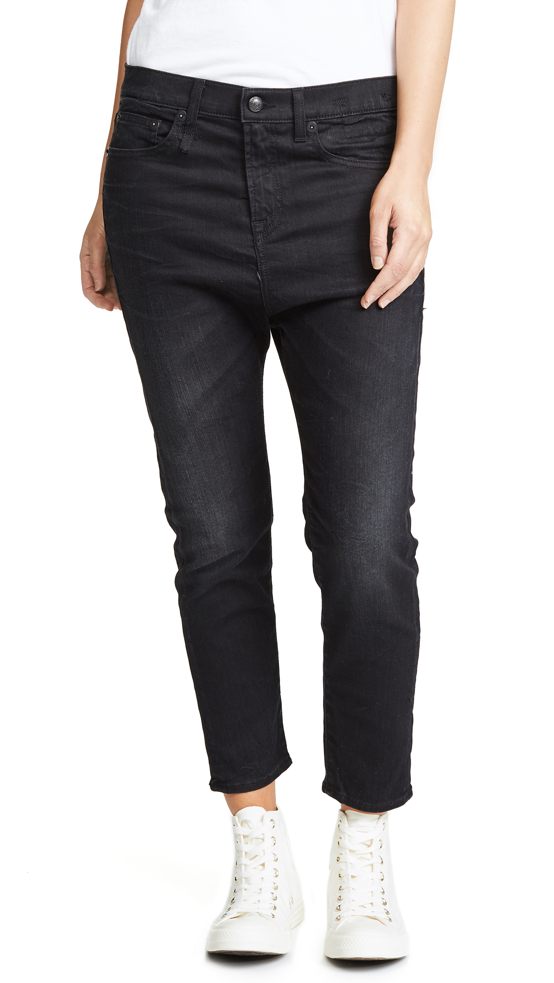 R13 The Drop Ankle Jeans In Black