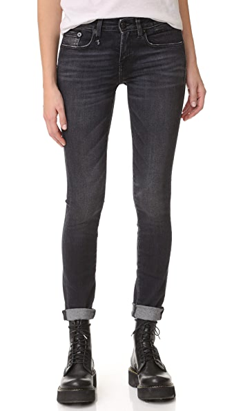 R13 The Alison Mid Rise Ankle Skinny Jeans In Dirty Black