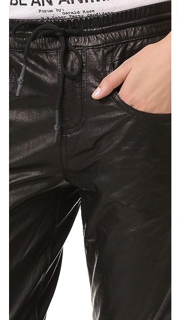 R13 Leather Boy Skinny Jogger Pants