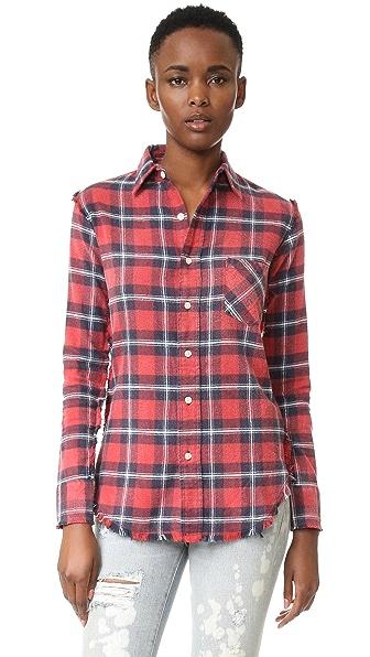 R13 Inside Out Slim Boy Shirt - Red Plaid #8
