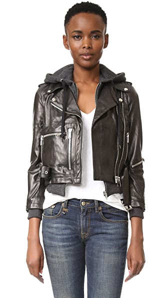 R13 Hooded Leather Moto Jacket