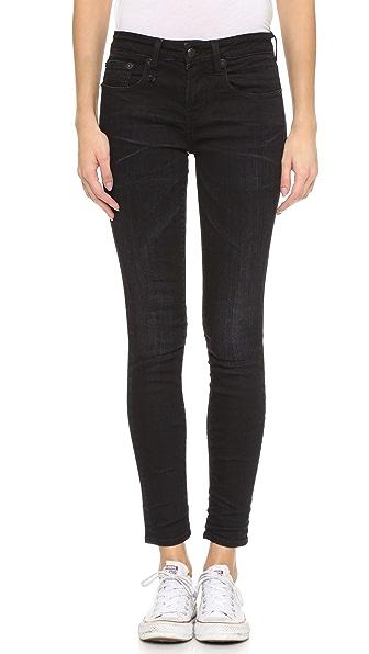 R13 The Jenny Mid Rise Skinny Jeans - Black