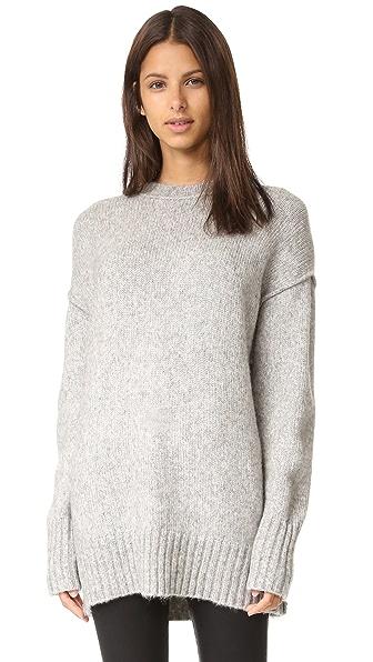 R13 Oversized Crew Neck Sweater - Heather Grey