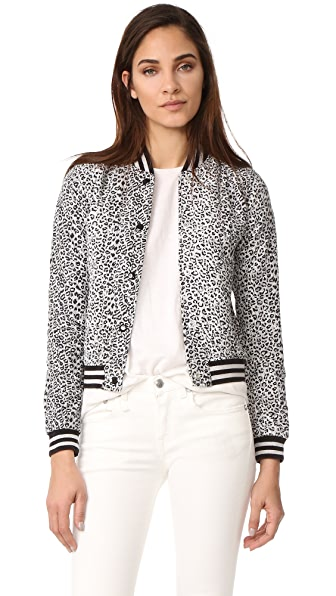 R13 Leopard Shrunken Roadie Jacket