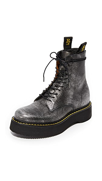 R13 R13 Combat Boots - Silver