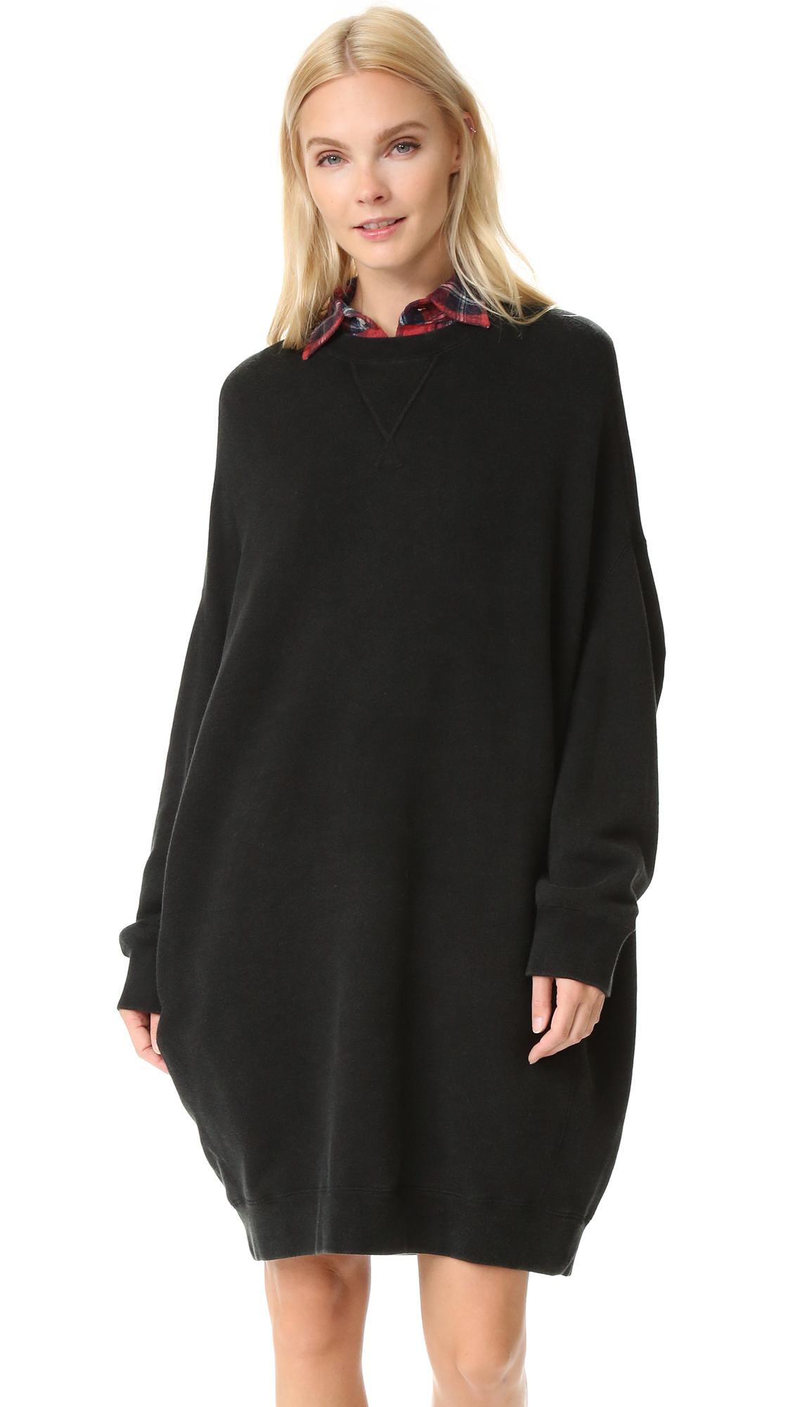 R13 Grunge Sweatshirt Dress - Sand Washed Black
