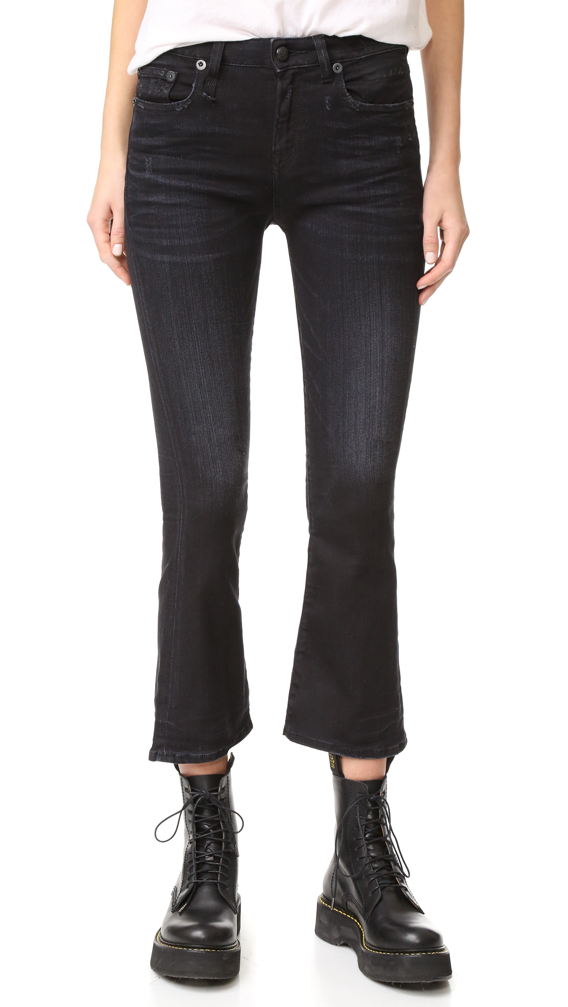 Exclusive to Shopbop. Light fading and frayed spots detail these cropped R13 flare jeans. 5 pocket styling. Button closure and zip fly. Fabric: Stretch denim. 69% cotton/29% nylon/2% viscose. Wash cold. Made in Italy. Measurements Rise: 9.75in / 25cm
