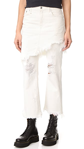 R13 Double Classic Skirted Jeans - Leyton White