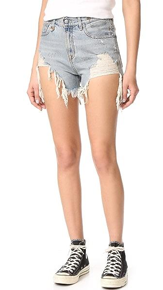 R13 Shredded Slouch Shorts - Rutland Painted