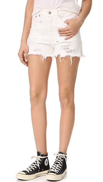 R13 Shredded Slouch Shorts - Warren White