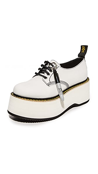 R13 X Stack Doodle Oxford Shoes - White