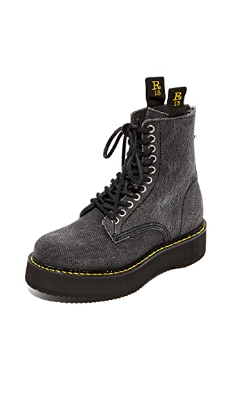 R13 Canvas Stack Boots - Black