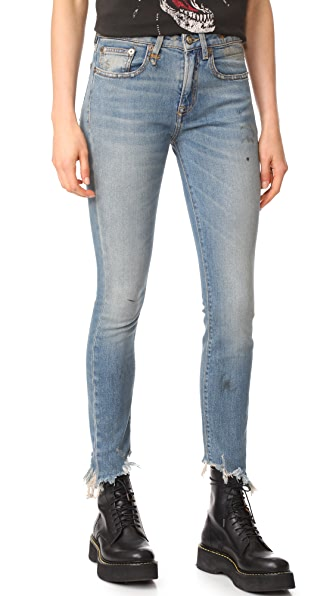 R13 Jenny Mid Rise Jeans - Shiloh with Distressed Hem
