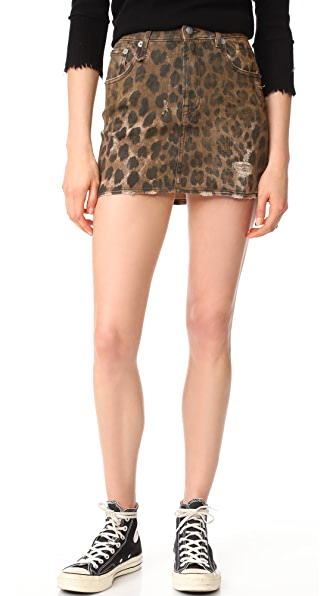 R13 High Rise Miniskirt In Leopard Wash