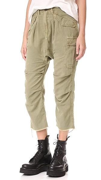 R13 Hemp Cargo Harem Pants In Light Olive