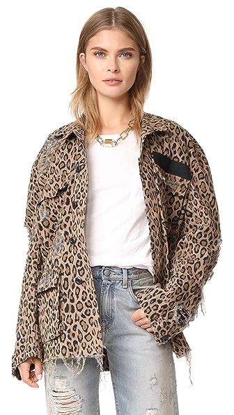 R13 Shredded Leopard Abu Jacket