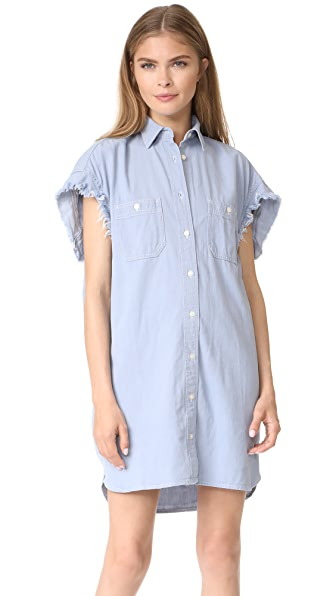 R13 Oversized Sleeveless Chambray Dress In Light Blue