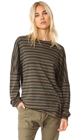 R13 Striped Drop Shoulder Tee - Multi Stripe