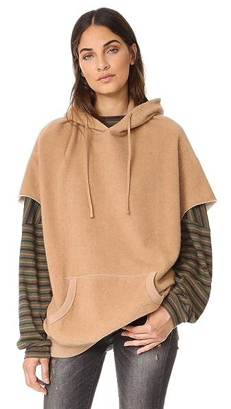 R13 Camel Cut Sleeve Hoodie - Camel