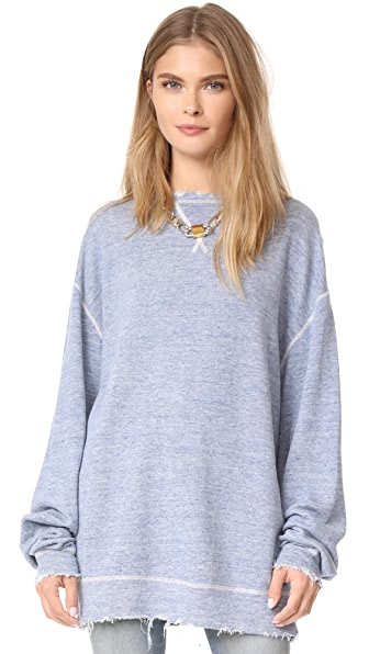 R13 Indigo Linen Sweatshirt In Blue