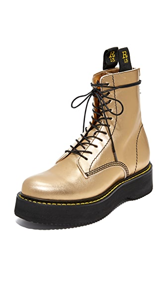 R13 Glamrock Single Stack Boots In Gold