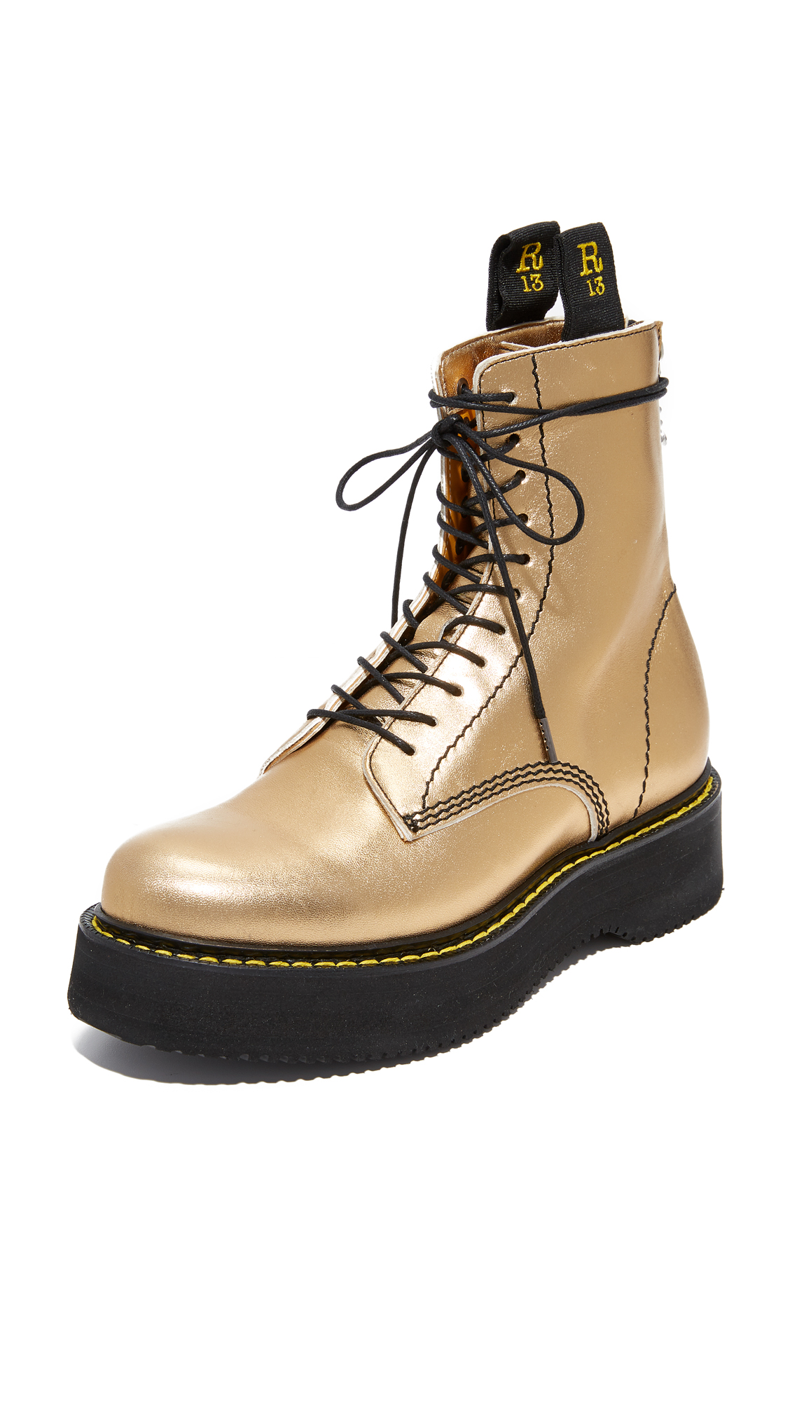 R13 Glamrock Single Stack Boots - Gold