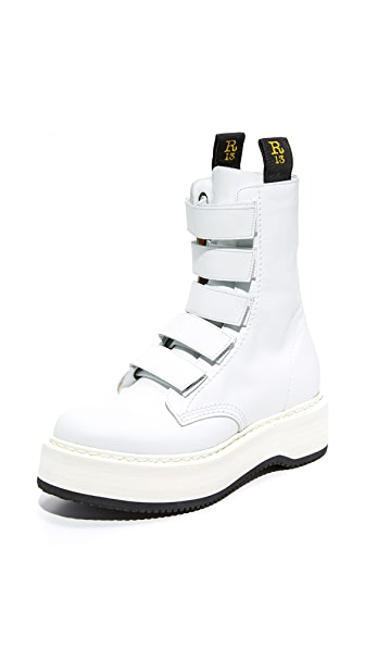 R13 Velcro White Single Stack Boots