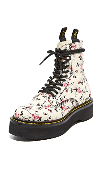 R13 Floral Embroidery Single Stack Boots - Ecru Floral