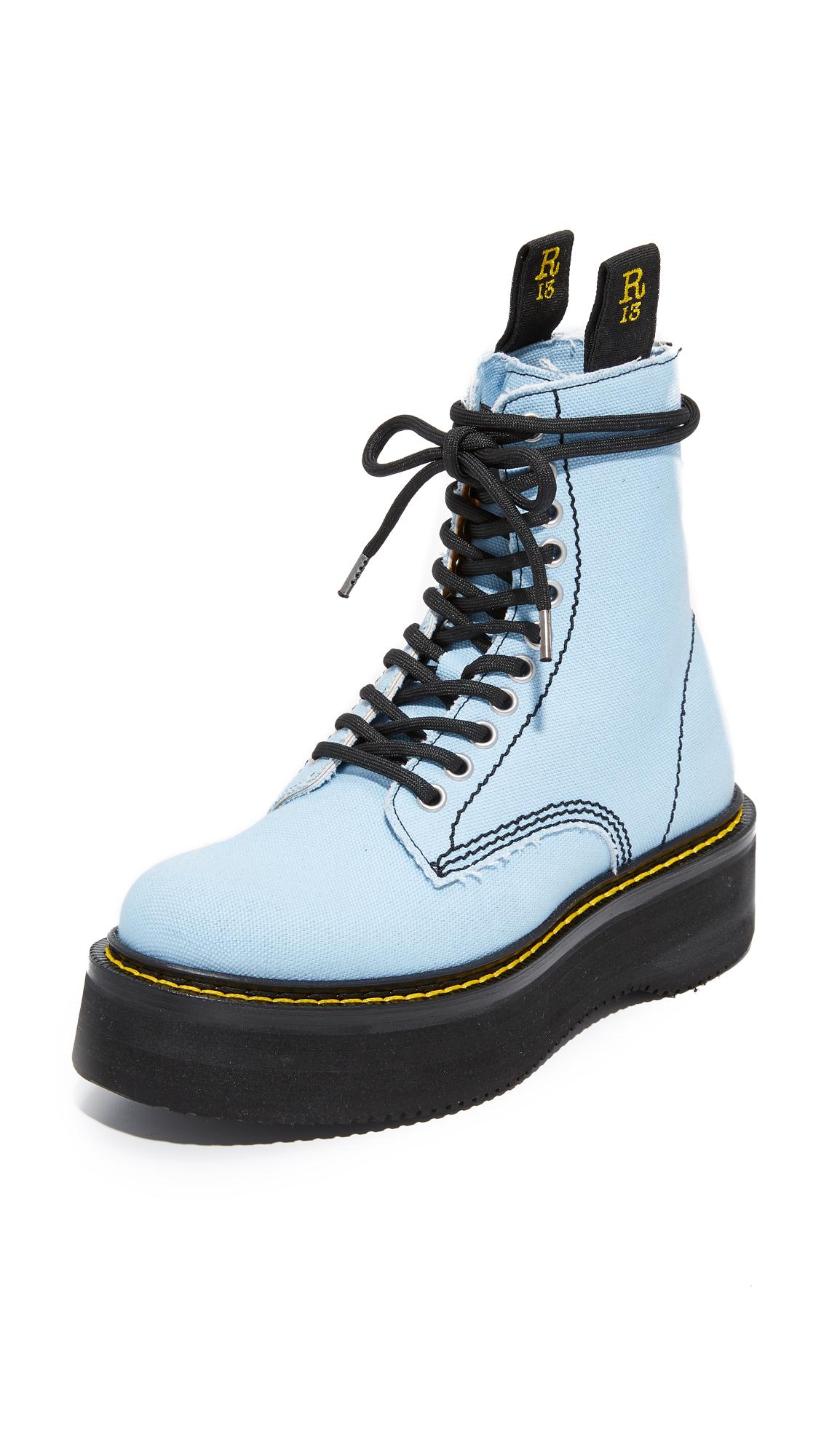 R13 Canvas Stack Boots - Denim