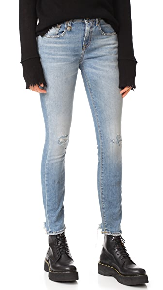 R13 Alison Skinny Jeans In Shiloh Stretch With Rips