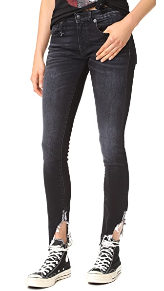 R13 Kate Skinny Jeans - Dark Moon with Angled Hem