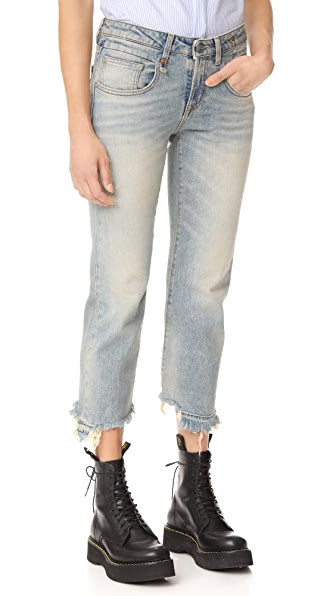 R13 Boy Straight Jeans In Leyton With Let Down Hem