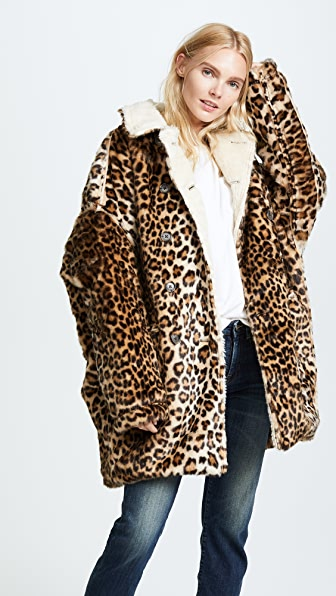 R13 Leopard Hunting Faux Fur Coat - Leopard
