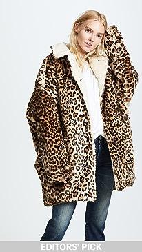 c8a347474c02 R13. Leopard Hunting Faux Fur Coat