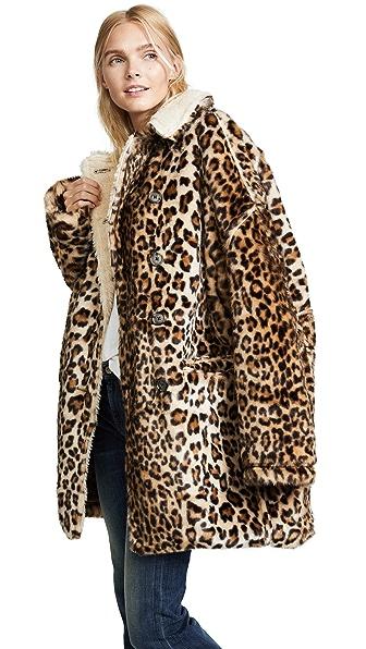 R13 Leopard Hunting Faux Fur Coat